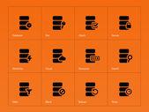 Database icons on orange background. — Stock Vector