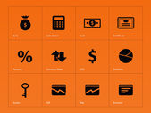 Economy icons on orange background. — Stock Vector