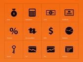 Economy icons on orange background. — Stock Vector