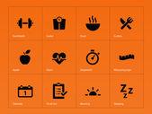 Fitness icons on orange background. — Stock Vector