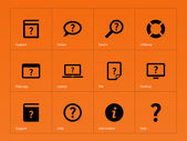 Help and FAQ icons on orange background. — Stock Vector