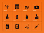 Hospital icons on orange background. — Stock Vector