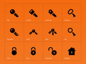 Key icons on orange background. — Stock Vector