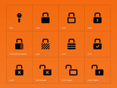 Locks icons on orange background. — Stock Vector