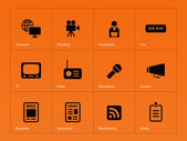 Media icons on orange background. — Stock Vector