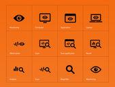 Monitoring icons on orange background. — Stockvektor