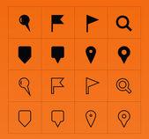 GPS and Navigation icons on orange background. — Stockvektor