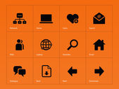 Network icons on orange background. — Stock Vector