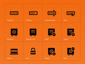 Password icons on orange background. — Stock Vector