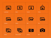 Photographs and Camera icons on orange background. — Stock Vector