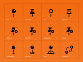 Mapping Pin icons on orange background. — Stock Vector