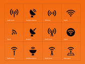 Radio Tower icons on orange background. — Stock Vector