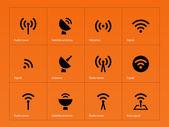 Radio Tower icons on orange background. — Stockvektor