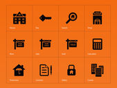 Real Estate icons on orange background. — Stock Vector