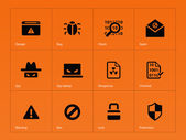 Security icons on orange background. — Stock Vector