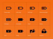Battery icons on orange background. — Stock Vector