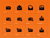 Mail icons on orange background. — Stock Vector