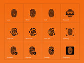 Fingerprint icons on orange background. — Stock Vector
