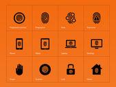 Otisk ikony na oranžovém pozadí. — Stock vektor