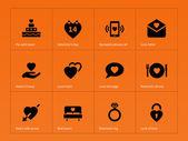 Love icons on orange background. — Stock Vector