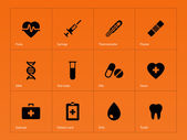 Medical icons on orange background. — Stock Vector