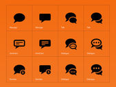 Message bubble icons on orange background. — Stock Vector