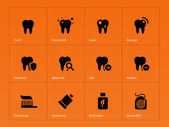 Teeth icons on orange background. — Stock Vector