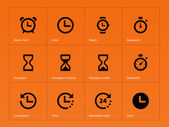 Time and Clock icons on orange background. — Stock Vector