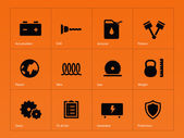 Tools icons on orange background. — Stock Vector