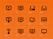 TV icons on orange background. — Stock Vector