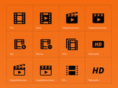 Video icons on orange background. — Stock Vector