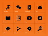 Web icons on orange background. — Stock Vector