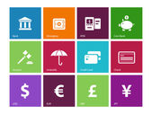 Banking icons on color background. — Stock Vector