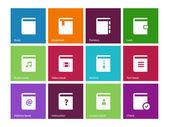 Iconos de libro sobre fondo de color. — Vector de stock