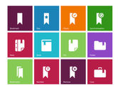 Bookmark, tag, favorite icons on color background. — Stock Vector