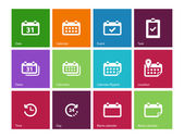 Calendar icons on color background. — Vector de stock