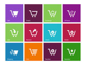 Shopping cart icons on color background. — Stock Vector