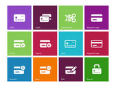 Credit card icons on color background. — Stock Vector