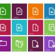Stock Vector: Set of Files icons on color background.