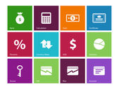 Economy icons on color background. — Stock Vector