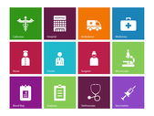 Hospital icons on color background. — Stock Vector