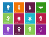 Light bulb and CFL lamp icons on color background. — Stock Vector