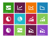 Line chart and Diagram icons on color background. — Stock Vector