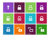 Locks icons on color background. — Stock Vector