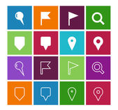 GPS and Navigation icons on color background. — Vector de stock