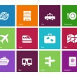 Travel icons on color background. — Stock Vector