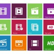 Video icons on color background. — Vector de stock