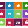 Wallet and translation icons on color background — Vector de stock