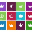 Stock Vector: Crown icons on color background.