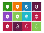 Shield icons on color background. — Stock Vector